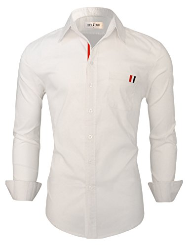 Tom's Ware Mens Casual Slim Fit Contrast Inner Long Sleeve Button Down Shirt TWNMS335S-WHITE-US XL