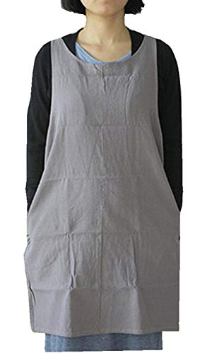 Soft Cotton Linen Apron Solid Color Halter Cross Bandage Aprons Japanese Style X Shape Kitchen Cooking Clothes Gift for Women Chef Housewarming --LightGray