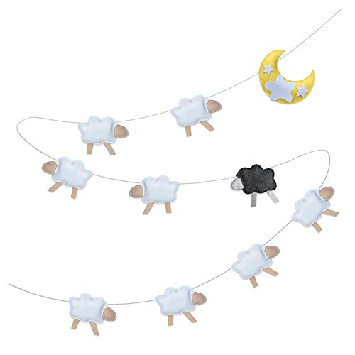 Baby Shower Nursery Wall Decor - Felt Garland Art for Newborn Boy Or Girl - Stimulate and Soothe with Star Moon and Sheep (Nursery Rhyme Decorations)