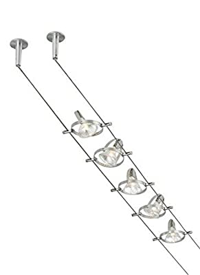 Tiella 800CBL5PN, Accent Electronic Low Volt Surface Track Lighting Kits, 100 Watts Halogen, Nickel