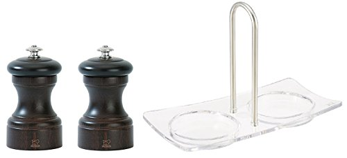 Peugeot Bistro 4 Inch Salt & Pepper Mill with a Peugeot Acrylic Linea Tray set, Chocolate
