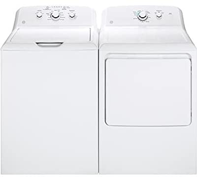 "GE White Laundry Pair with GTW330ASKWW 27"" Top Load Washer and GTD33GASKWW 27"" Front Load Gas Dryer"