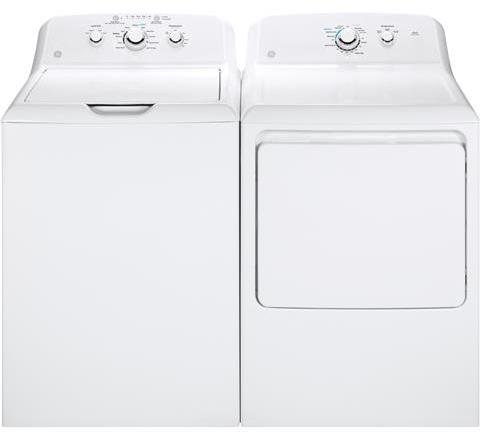 """GE Top Load Deep Rinse GTW330ASKWW 27"""" Washer with GTD33GASKWW 27"""" Front Load Gas Dryer Laundry Pair in White"""