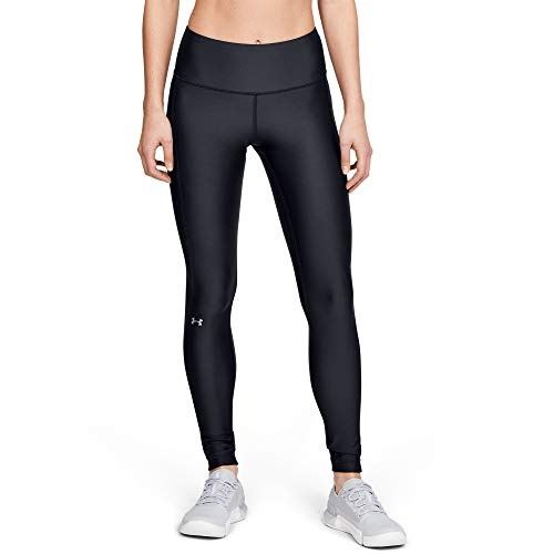 Under Armour Women's HeatGear Armour High Waisted Leggings, Black (001)/Metallic Silver, Medium