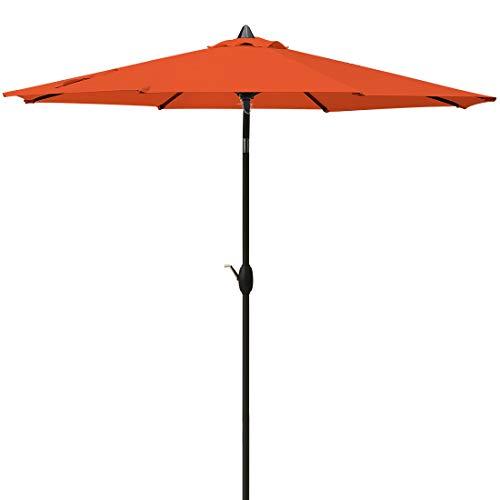 MASVIS Patio Umbrella 9'Market Outdoor Umbrella with Push Button Tilt and Crank (9FT, Orange)
