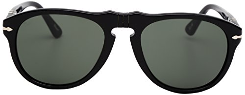 Persol Men's PO0649 Sunglasses Black / Crystal Green - Persol 0649 Sunglasses