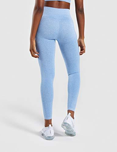 MOYOOGA Seamless Leggings High Waisted Workout Yoga Gym Leggings for Women (Medium, Blue Marl)