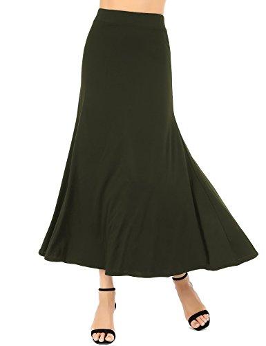 Womens Maxi Skirts Classic Lightweight Elastic Waist Flared Draped A-Line Long Skirts (Army Green, (Classic Elastic Waist Skirt)