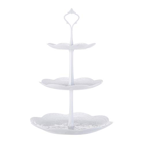 youeneom 3-Tier Cake Stand, Elegant Embossed Elegant Dishware Serve Snacks, Appetizers, Cakes, Candies Durable for Tea Party, Baby Shower and Wedding (Round)