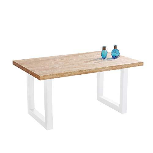 Adec - Loft, Mesa de Comedor, Mesa Salon o Cocina Fija, Acabado en Roble Salvaje y Blanco, Medidas: 160 cm (Largo) x 100 cm (Ancho) x 75 cm (Alto)