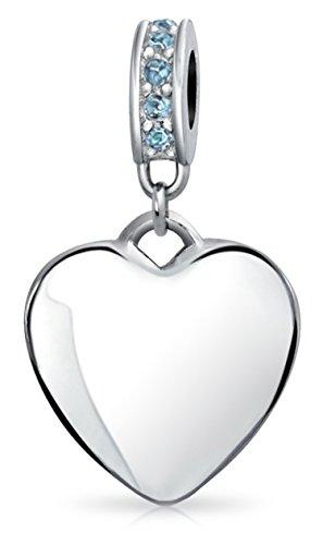 - Engravable Aqua Crystal Heart Charm Bead For Women For Teen 925 Sterling Silver European Bracelet December Birth Month