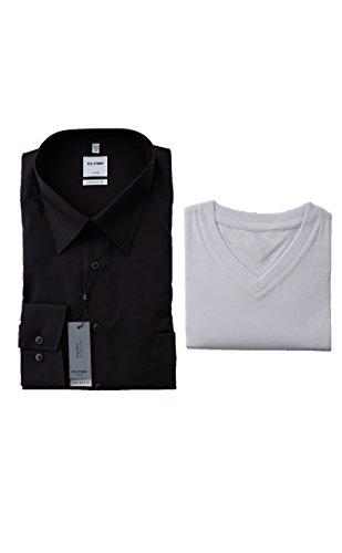 OLYMP Luxor Hemd, Schwarz, Comfort Fit, Bügelfrei, inklusive T-Shirt V-Ausschnitt