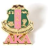 Alpha Kappa Alpha Sorority (AKA) 3D Color Shield Pin w/letters