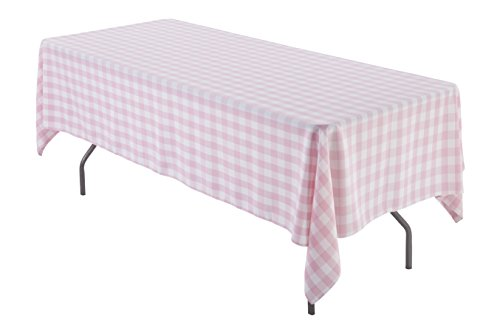 60 x 102 inch Rectangular Polyester Tablecloth (Pink and White Check) ()