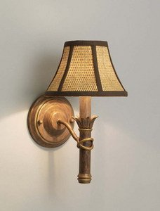 (Aztec Lighting Island Gold Wall Sconce with Wicker Shade)