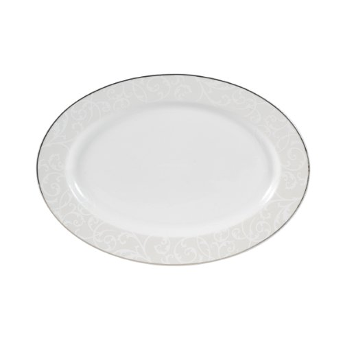 (Mikasa Parchment Modern Oval Serving Platter,14-Inch)