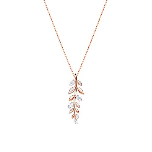 Z&HA Lockets Necklace for Women Short Necklaces Branch and Leaf Styling Pendant Clavicle Chain Swarovski Crystals Lucky Ornaments Rose Gold for Girls,Rosegold (Leaf Design Necklace)