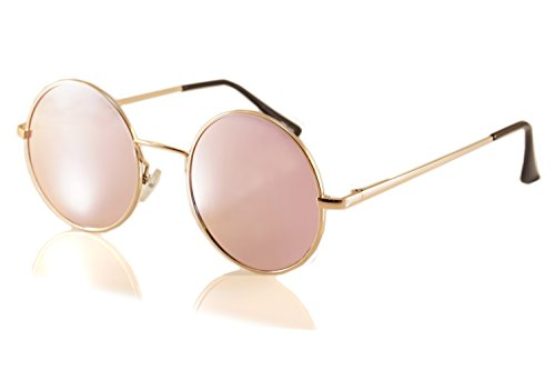 Fa.Beau.Lux Single or 2 Pack Pink Mirrored Flat Lens Sunglasses Women (Gold/ Round, - Glasses Lens Single Prescription