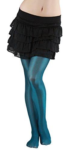 ToBeInStyle Women's Shiny Metallic Pantyhose Color: Turquoise
