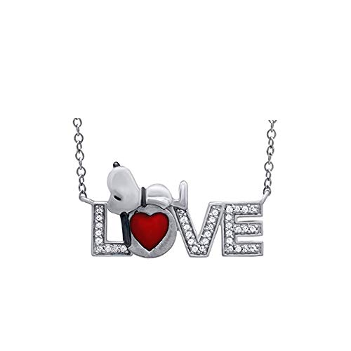 - ♥Love Gift♥Peanuts 1/6cttw Sleeping Snoopy Diamond LOVE with Red Enamel Heart Pendant in Sterling Silver