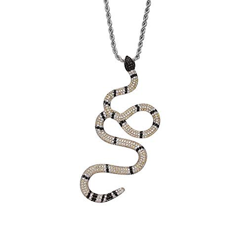- Union Power Snake Shape Hip-hop Zircon Men with Pendant Necklace (Silver Snake)