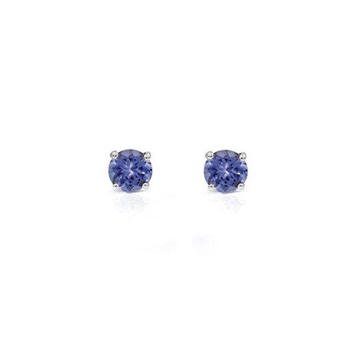 - 1.00 Ct Round Genuine Tanzanite 925 Sterling Silver Stud Earrings 5mm