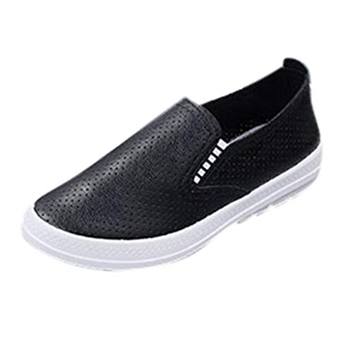 Toimothcn Women Loafers Girls Slip on Comfortable Casual Hollow Out Sneaker Flat Shoes (Black,US:5.5)