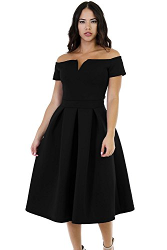 LALAGEN Women's Vintage 1950s Party Cocktail Wedding Swing Midi Dress Black L