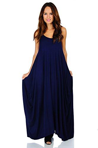 Simply Ravishing Rayon Span Maxi Boho Harem Spaghetti Strap Dress, 1X, - Blue Hammer Navy