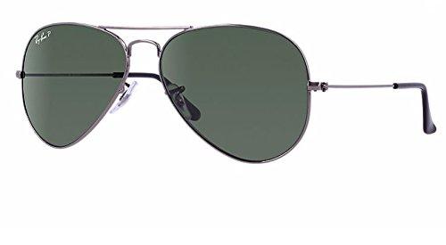 Ray Ban RB3025 004/58 58M Gunmetal/ Polarized Green - Ban Ray Gun Sunglasses Aviator Green