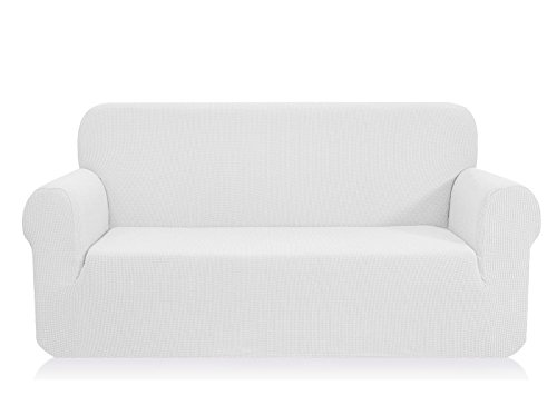 (CHUN YI 1-Piece Jacquard High Stretch XL Sofa Slipcover, Polyester and Spandex 4 Seater Cushion Couch Cover Coat Slipcover, Furniture Protector Cover for Sofa and Couch (XL Sofa, White))