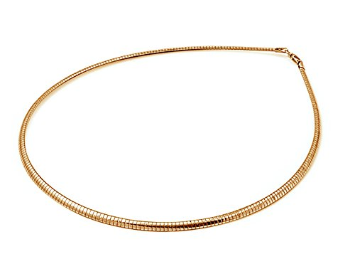 Sterling Silver Gold-Tone Reversible Omega Snake Chain 3mm Solid 925 covid 19 (Gold Tone Snake Necklace coronavirus)