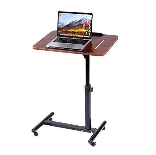 BarleyHome Overbed Table, Tray Table Adjustable Sofa Side Bed Table Portable Desk with Wheels Laptop Cart, Red Walnut (Softball Desk Chair)