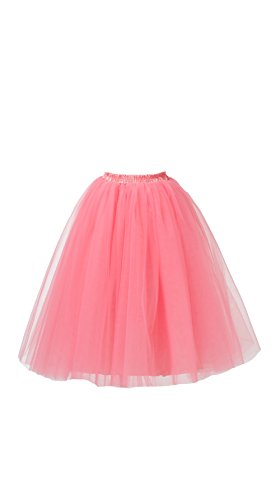 [Honeystore Women's Long Ballet Multi-layer Ruffle Frilly Petticoat Tutu Skirt Watermelon XXL] (Watermelon Toddler Costume)