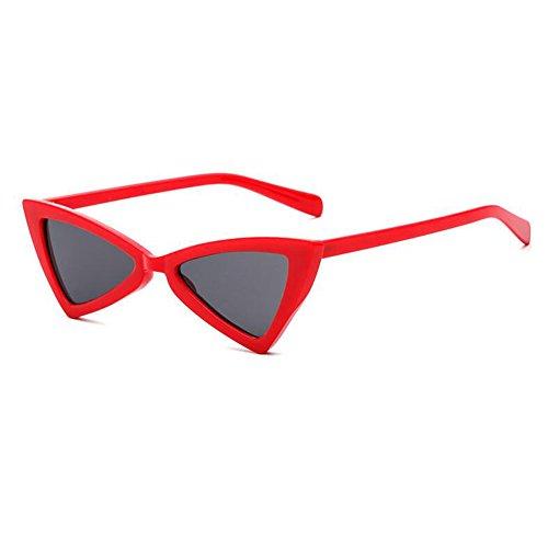 Fashion de Eyewear Retro soleil Eye métal lunettes femmes Red charnière Triangle Yefree Gray Cat xq0zZzH