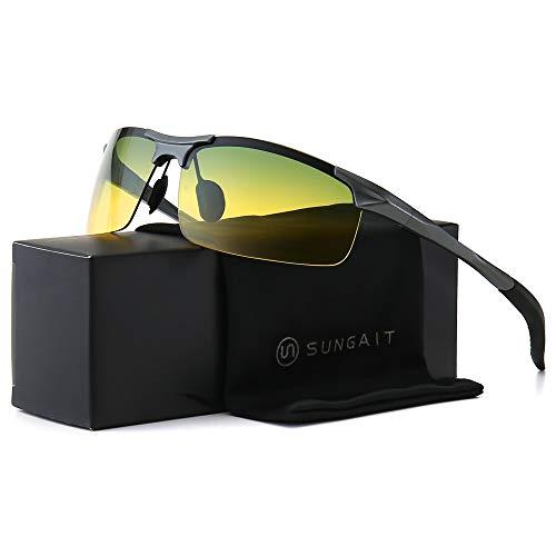 SUNGAIT HD Night Vision Polarized Sunglasses Anti Glare for Night Driving(Gunmetal Frame/Day&Night)8177QKRY ()