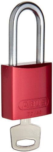 Brady  Aluminum Lockout/Tagout Padlock, Keyed Alike, 1-3/5'' Body Length, 1-1/2'' Shackle Clearance, Red (Pack of 3) by Brady (Image #1)