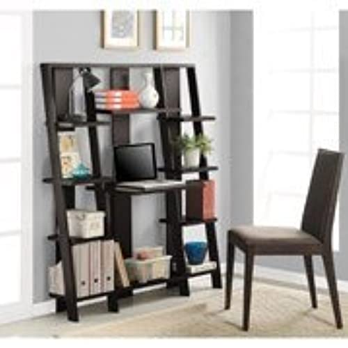 Wooden Bookcase Mutil Levels Ladder W Desk Espresso Finish Office Home Supplies