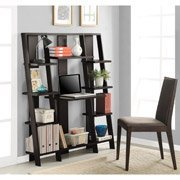 Bookcase Ladder Desk (Wooden Bookcase Mutil-levels Ladder /w Desk Espresso Finish Office Home Supplies)