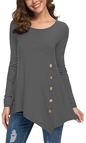 - Viishow Womens Scoop Neck Loose Blouse Long Sleeve Asymmetrical Tunic Tops Grey XL