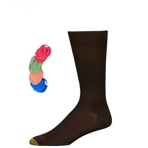 politan Dress Sock, 6-Pack / 6 Free Sock Clips Included (Brown) ()