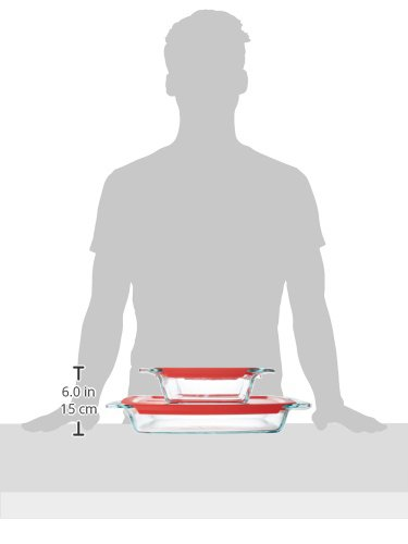 Pyrex Easy Grab Glass Bakeware Set with Red Lids (4-Piece) by Pyrex (Image #2)