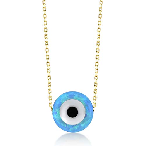 Gelin 14k Real Gold Opal Round Blue Evil Eye Pendant Necklace for Women, 18 Inc