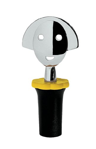 A di Alessi Anna Stop 2 Bottle Stopper, Black - AAM06 B (Alessi Wine Bottle Opener)