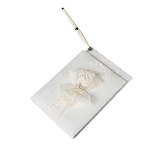 Delilah Wedding Guest Book with Attached Pen, (Scalloped Lace Pen)