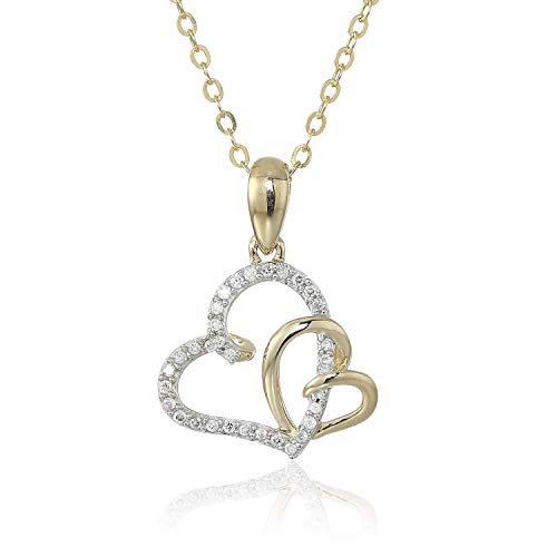 1/10 cttw Diamond Heart Pendant In 14K Yellow Gold with 18 Inch Chain -