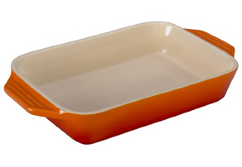 Le Creuset Stoneware Rectangular Dish, 10.5 by 7-Inch, Flame ()