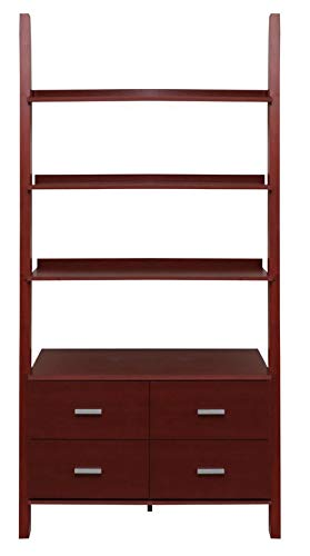 - MIK Wood Ladder Bookcase - Bookcase with 4 Drawers and 3 Shelves - Cherry