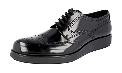 (Prada Men's 2EE198 P39 F0002 Black Full Brogue Leather Business Shoes EU 10 (44) / US 11)