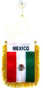 AZ FLAG Mexico Mini Banner 6'' x 4'' - Mexican Pennant 15 x 10 cm - Mini Banners 4x6 inch Suction Cup Hanger